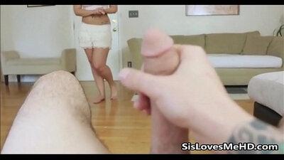 Kinky Sister Sucks Cock and Gets him Messy