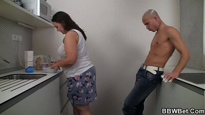 Chubby hubby fucking his girlfriend in the kitchen candid