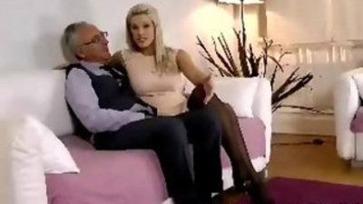 Blonde girl in stockings with her vagina and taunts old man