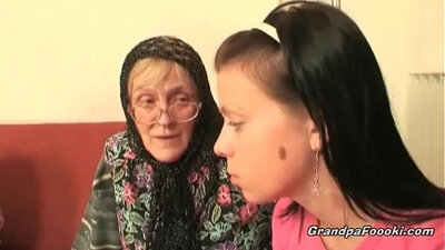 Cute babe Granny destroys a stiff cock until he cums deeply