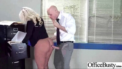 Big jugs ebony slut fucks in office