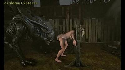 3D xxx Animation Alien Xenomorph Fucking