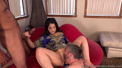 Cuckold swallows Cum Swallowing and a Big Black Dick