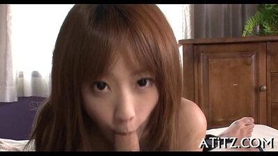 Busty Japanese girls blow job off orgins