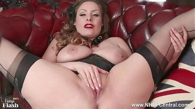 busty brunette with a big natural fucker is doing her CBT