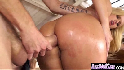 Cuban bitch with huge curves Katy oils her round booty and anal hole