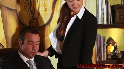 Christin Mosco redhead in office surprises her boss with a stunning boobs
