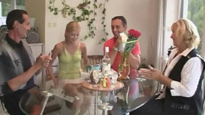 Her birthday ends with family threesome