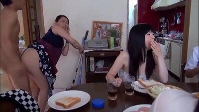 Japanese Stepmom Fucks Step daughter and Guy