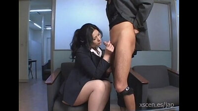 Japanese client gives her boss blowjob from behind