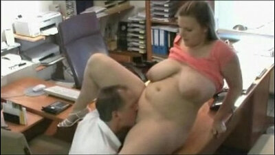 Chubby teacher sucks and fucks her boss in the office