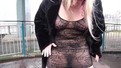 Blonde MILF Flashing Pecan Tease in Public