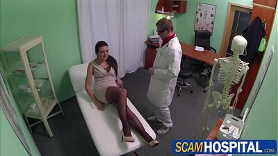 Tight shaved pussy gets nurse creampie