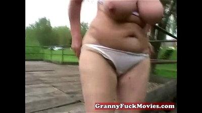 Hairy granny banged hard with toys