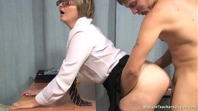 Blonde mature college teacher takes bday lesson by the handyman that makes her horny!