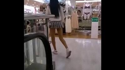 Candid voyeur teens in when schoolgirls are walking across campus