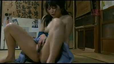 Couple of sweet young Japanese whores enjoy each other at home