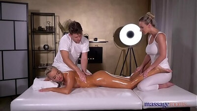 Blonde hottie with oiled slim body takes part in FFM threesome