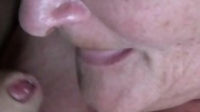 spunkming Into Grannys Mouth Closeup