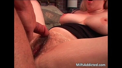 Hairy blonde riding old dick