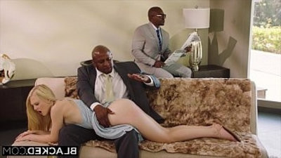 BLACKED obedient girlfriend punished by two black studs