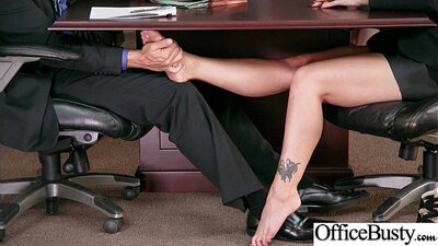 Busty office bitch gives great BJ and then gets fucked