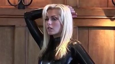 Natasha in black latex catsuit