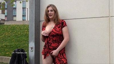SPY redhead milf flashing pretty body in public