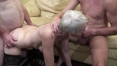 Old woman makes a threesome with her nephew and her dad