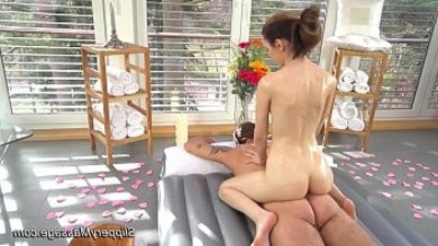 slippery nuru mpouchage with skinny blonde youngster