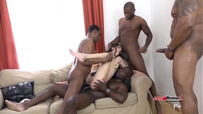 Black Ghetto Cock Pounding Interracial GangBang