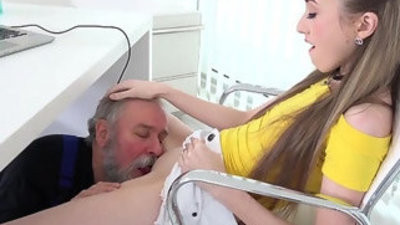 Old Goes Young Lovely Vlada splits open her long gams