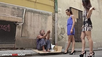 YOUMIXPORN Interactive Skinny teen Cayenne and buxomy honey Darcia Lee pick a homeless man from the streetranssexual and fuck him raw