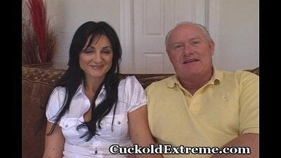 Amazing ebony cuckold gets wanked his bulge