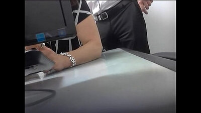 Boss at the office getting dick sucked by her colleague in spite of him