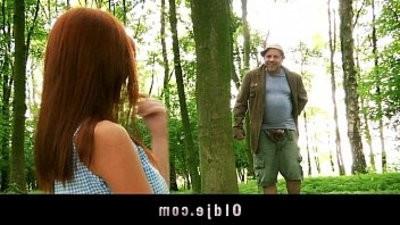 Weird old forest man fucks crimsonhead into the woods