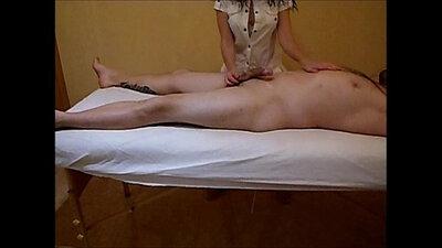 Amateur masseuse loves hard handjob massaging cumshot on hard penis