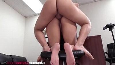 Busty ebony Sierra fluidpied in first time porn casting