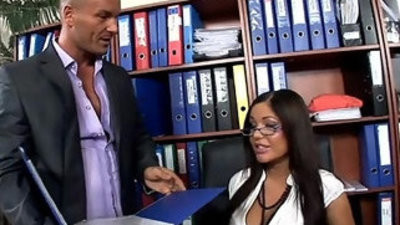 Hot secretary fucked in hip highs and high heels