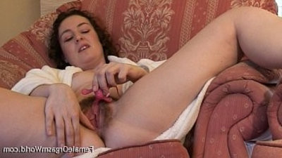 Hairy Coed Beth whirres Her love button to A Pulsing Orgasm