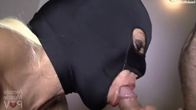 Masked Female Bodybuilder deep throats on a Cock Takes a Load