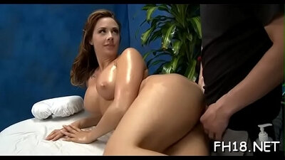 Sexy dark chap seduces women to have sex on massage table new