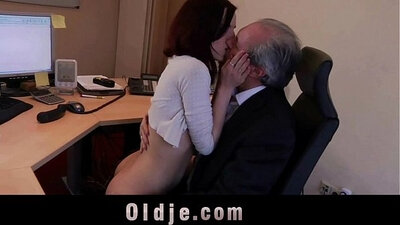 Beauty secretary sucks smooth young cock