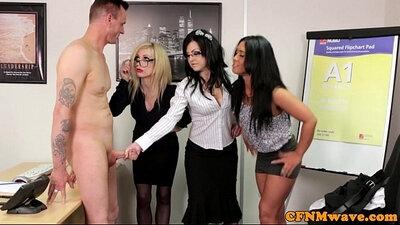 CFNM office femdom bitches tug on guys cock
