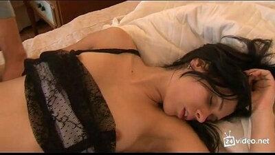Horny ex girlfriend sucking and fucking with sleep helper until waking her up to cum