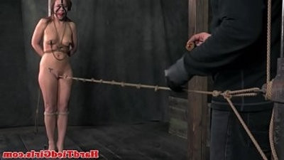 Crotch roped nip clamped sub grimaced