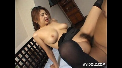 Busty japanese babe takes the longest train at work