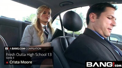 High school babe gets dildoed