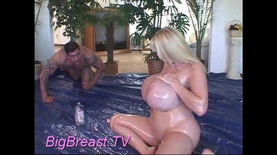 Beautiful babe squirted milk into her hot butthole
