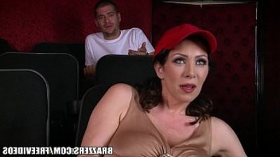 Dude fucks stepmom in the porno theater